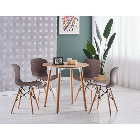 Alessia Halo Round Dining Table Set | 4 CHAIR SET | Retro Ribbed Chairs | Dining Table (Oak Table & Brown Chairs)