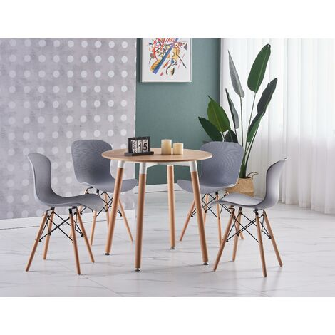 Alessia Halo Round Dining Table Set | 4 CHAIR SET | Retro Ribbed Chairs | Dining Table (Oak Table & Grey Chairs)
