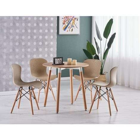 Alessia Halo Round Dining Table Set | 4 CHAIR SET | Retro Ribbed Chairs | Dining Table (Oak Table & Vanilla Chairs)