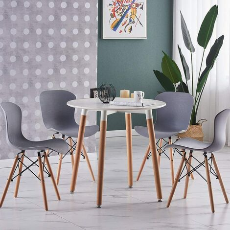 Alessia Halo Round Dining Table Set with 4 Chairs (WHITE & GREY)