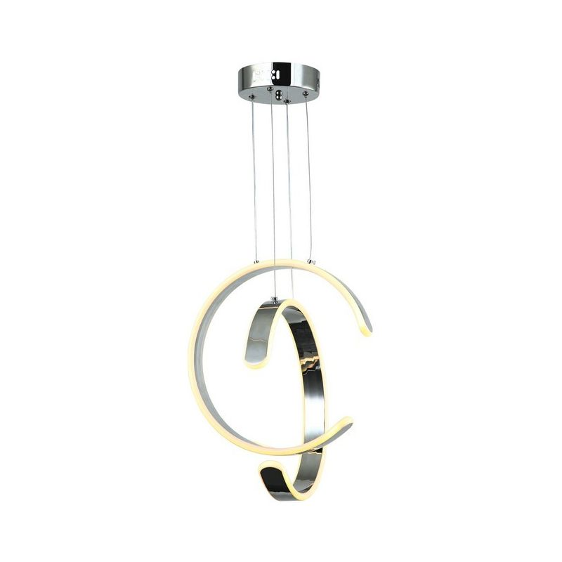 Homemania - Aletta Haengelampe - Kronleuchter - Deckenkronleuchter - Chrom aus Metall, 32 x 15 x 115 cm, 2 x LED, 20W, 11000LM, 3200K