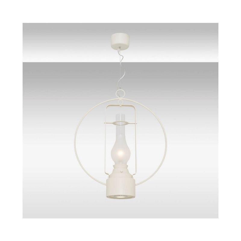Homemania - Alex Haengelampe - Kronleuchter - von Decke - Weiss aus Metall, Glas, 50 x 50 x 120 cm, 1 x Striscia LED, 5W, 1 x Striscia LED, 3W,