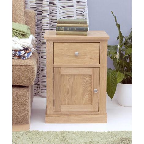 Alex Oak One Door One Drawer Lamp Table - Assembled Brown Oak