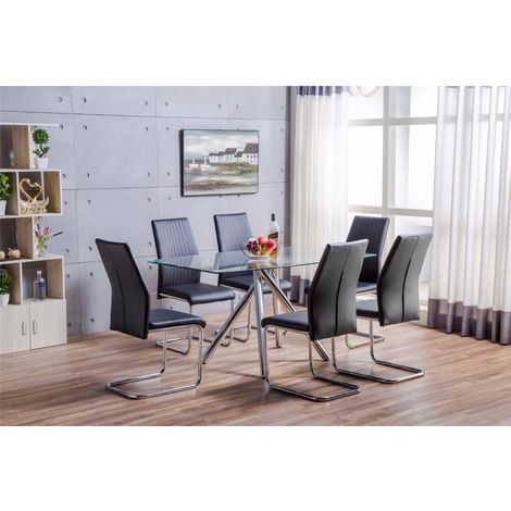Alexa Glass And Chrome Metal Dining Table And 6 Lorenzo Chairs Set