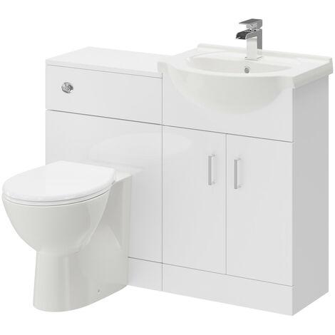 """main image of """"Alexander James Gloss White 1050mm 2 Door Vanity Unit Toilet Suite"""""""