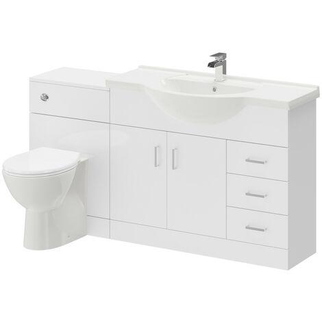 "main image of ""Alexander James Gloss White 1550mm 2 Door 3 Drawer Vanity Unit Toilet Suite"""