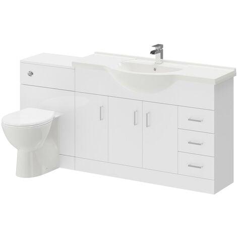"main image of ""Alexander James Gloss White 1700mm 3 Door 3 Drawer Vanity Unit Toilet Suite"""