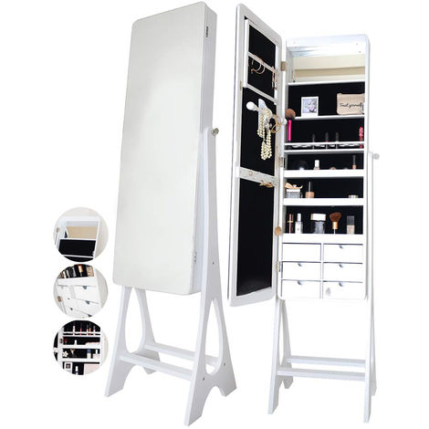 Alexandra Luxe White Standing Full Length Jewellery Mirror Cabinet with LED Lights and 6 Drawers Shelves Storage For Makeup Bedroom Cosmetics