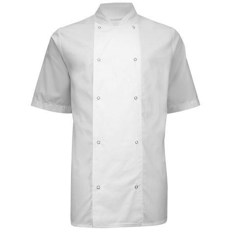 Alexandra Mens Short Sleeve Stud Chefs Jacket (Pack of 2)