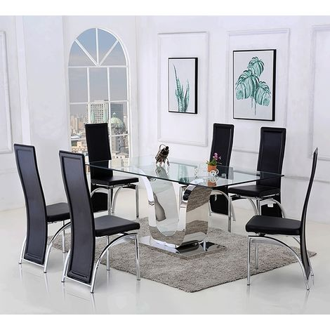 Alexandria Glass and Chrome 180 cm Dining Table and 6 Black Alisa Chairs Set