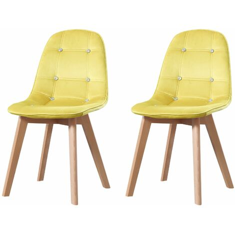 ALEXIA - Lot de 2 chaises scandinave - Velours - Camel - pieds en bois massif design salle a manger salon - 53 x 46 x 83 cm - Camel