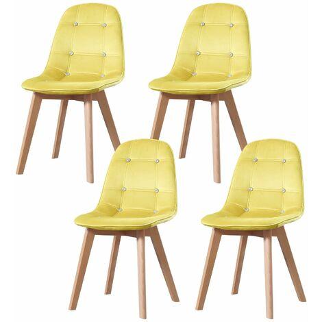 ALEXIA - Lot de 4 chaises scandinave - Velours - Jaune - pieds en bois massif design salle a manger salon - 53 x 46 x 83 cm - Jaune