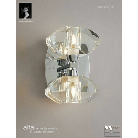 Alfa wall light with 2-light switch G9, polished chrome