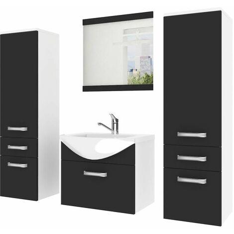 ALFEA | Ensemble meubles salle de bain 5 pièces 50 cm | Miroir + Lavabo + Meuble sous lavabo | 2 colonnes + vasque - Noir/Blanc