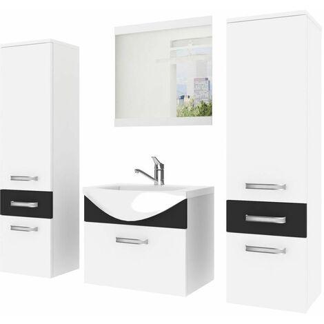 ALFEA | Ensemble meubles salle de bain 5 pièces 50cm | Miroir + Lavabo + Meuble sous lavabo | 2 colonnes vasque - Blanc/Noir