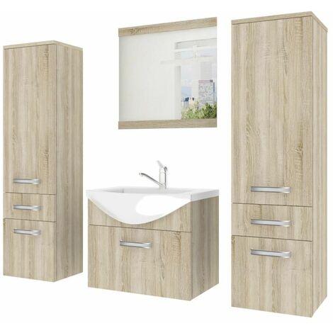 ALFEA   Ensemble meubles salle de bain 5 pièces 50cm   Miroir + Lavabo + Meuble sous lavabo   2 colonnes + vasque - Sonoma
