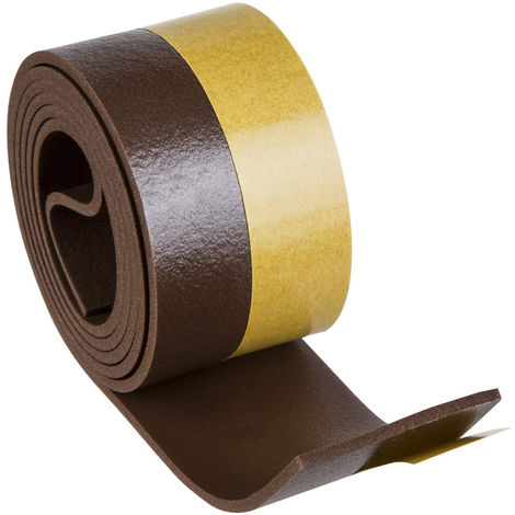 Alféizar de puerta adhesivo en PVC blando, 38mm x 100cm, marrón