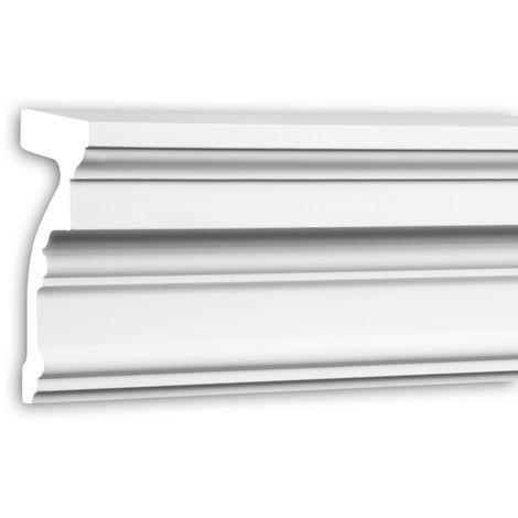Alfeizar de ventana Profhome 482302 Moldura para exteriores Marco para ventanas Elemento de fachada diseño atemporal clásico blanco 2 m