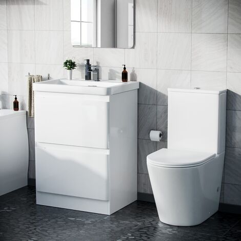 Alfie 600mm Floor Standings Vanity Unit And Curved Close Coupled Toilet White Gloss
