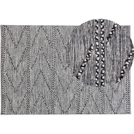 Alfombra 140x200 cm negra/blanca TERMAL