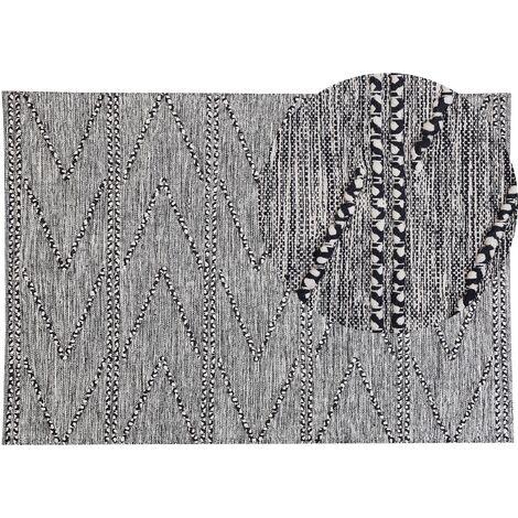Alfombra 160x230 cm negra/blanca TERMAL