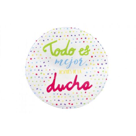 Alfombra Baño/Ducha con puntos Multicolor. Diseño Original y Divertido. Con Frase Alegre Todo es mejor 50X50 cm.-Hogarymas-