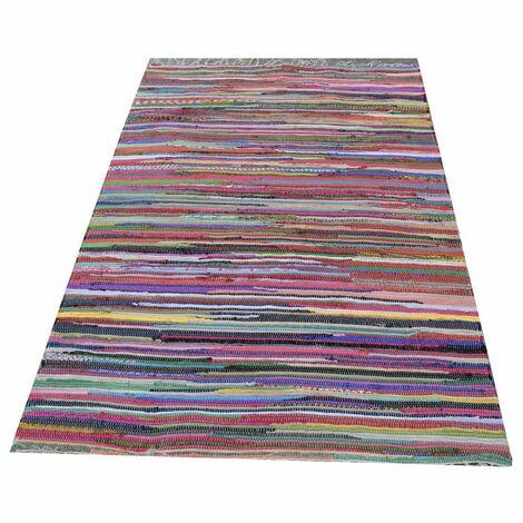 Alfombra Chindi de algodón de colores para salón/entrada/dormitorio 180 x 120 cm - Hogar y más