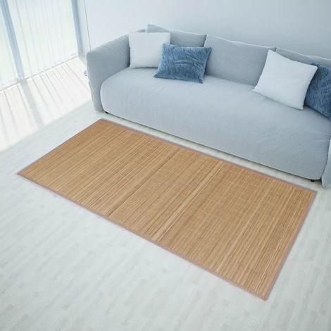 Alfombra de bamb¨² natural, rectangular color marron, 80 x 200 cm