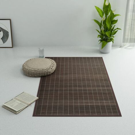 Alfombra de bambú 100x160 cm marrón oscuro