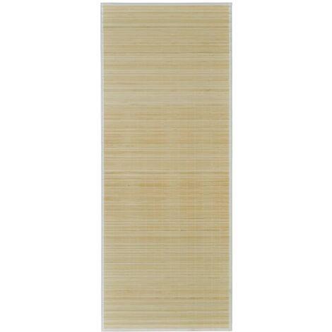 Alfombra de bambú natural rectangular, 80 x 200 cm