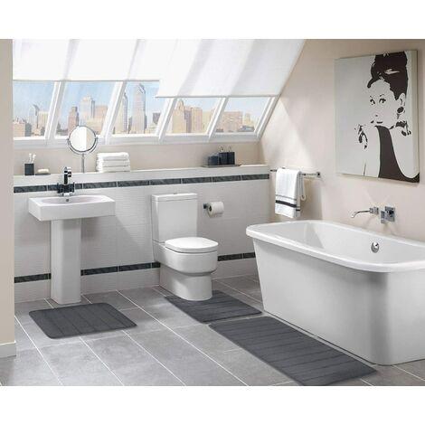 Alfombra de baño absorbente y antideslizante De espuma viscoelástica Lavable, Espuma viscoelástica, 40 x 120 cm - lila