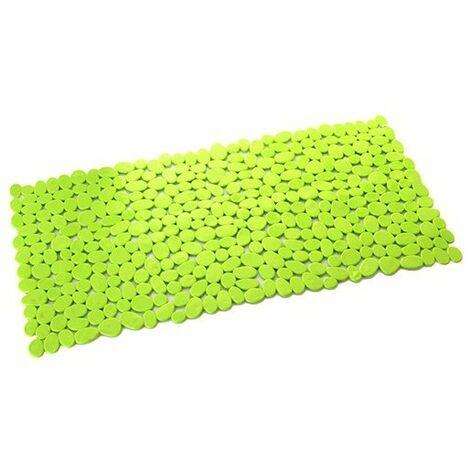 Alfombra de Baño Antideslizante, con forma Rectangular, de Color Verde Lima. Diseño de Piedras de Rio - Hogar y Más