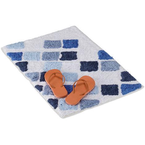 Alfombra de baño de algodón, Antideslizante, Lavable, Rectangular, 50x80 cm, Blanco & Azul