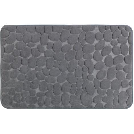 Alfombra de baño Goma de espuma con memoria Pebbles gris