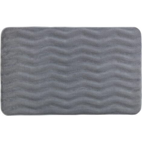 Alfombra de baño goma de espuma con memoria Waves gris claro