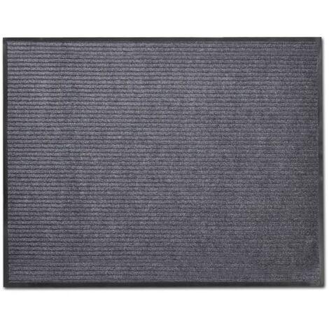 Alfombra de entrada de PVC gris, 90 x 60 cm