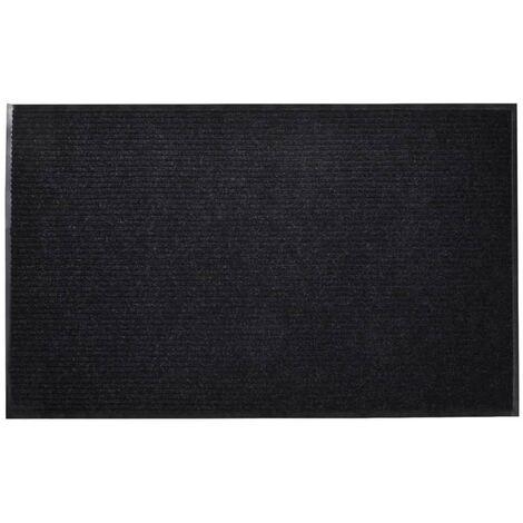 Alfombra de entrada de PVC negra, 90 x 150 cm - Negro