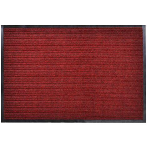 Alfombra de entrada de PVC roja, 90 x 120 cm - Rojo