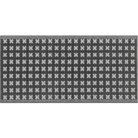 Alfombra de exterior negra 90x180 cm ROHTAK