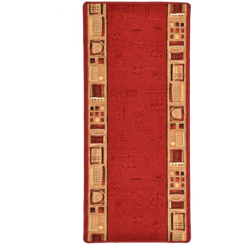 Alfombra de pasillo con parte trasera de gel roja 67x150 cm - Rojo