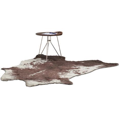alfombra de piel artificial, Piel de vaca sintética, Color blanco y marrón, 140 x 160