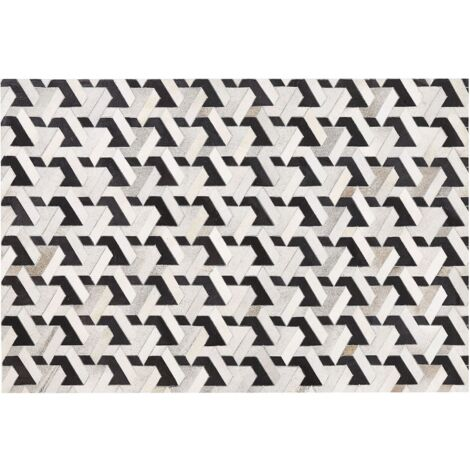 Alfombra de piel negra/gris patchwork 140x200 cm NARMAN