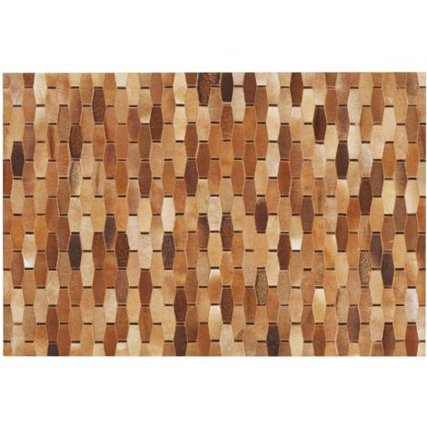 Alfombra de piel patchwork marrón 140x200 cm DIGOR