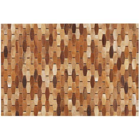 Alfombra de piel patchwork marrón 160x230 cm DIGOR