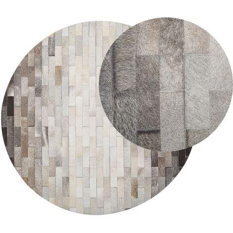 Alfombra de piel patchwork marrón/beige ø140 cm DUTLAR