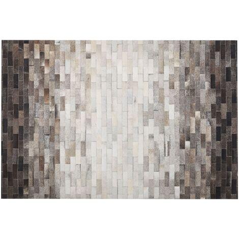 Alfombra de piel patchwork marrón/beige 160x230 cm DUTLAR