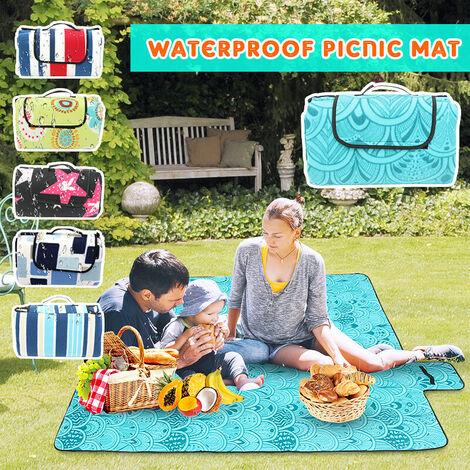 Alfombra de playa impermeable, grande, sin arena, para picnic, sin arena, para acampar, de paja (tipo 3 azul pavo real)