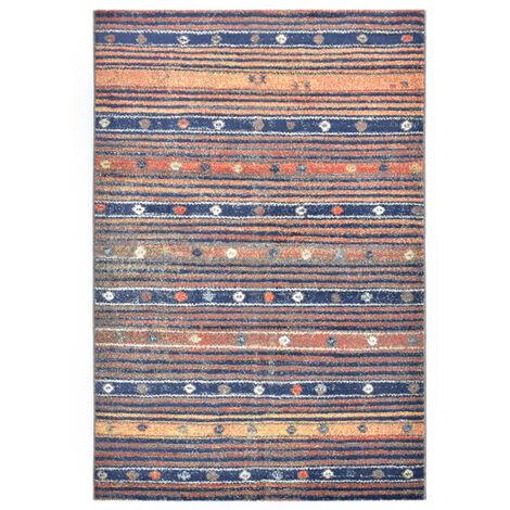Alfombra de PP azul y naranja 120x170 cm