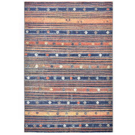 Alfombra de PP azul y naranja 140x200 cm