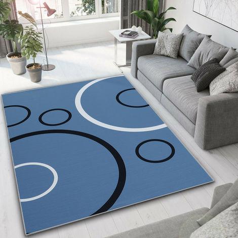 Alfombra de sala de estar abstracta moderna - Patrón de círculo - azul + negro + blanco sala de estar dormitorio